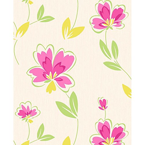 crown-fresh-floral-wallpaper-pink-green-yellow-m0777