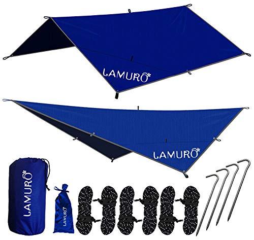 LAMURO Lona Impermeable de Exterior - Lona Toldo para Camping de Nylon Ripstop Tienda Hamaca de Supervivencia al Aire Libre con Cualquier Clima - Accesorios de Camping y Hamacas