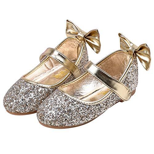 FStory&Winyee Mädchen Schuhe Ballerina Prinzessin Kinder Ballet Schuhe Partei Glitzer Tanz Schuhe Schleife Pailletten Blau Gold Silber Sandalen Cosplay Kostüm Tanzball Aufführung Fasching 24-35 3-11 (Tanzen Tragen Tanz Kostüm)