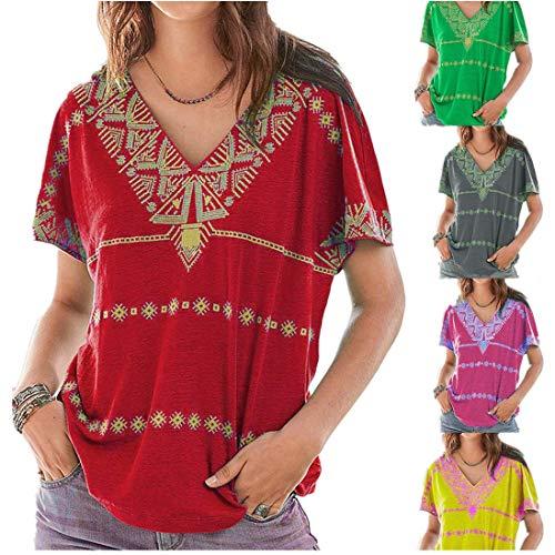 Yvelands Damen Mode T-Shirt Kurzarm Bohemia Geometric Print Top Bluse Kleidung(Minzgrün,XL)