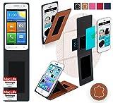reboon Hülle für Elephone G3 Tasche Cover Case Bumper | Braun Leder | Testsieger