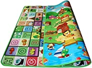 2 X 1.8m Kid Baby Play Mat Floor Activity Happy Farm Rug Child Crawling Carpet