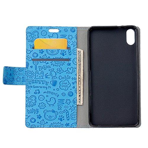"""MOONCASE iPhone X Flip Cover, [Cartoon Pattern] Brieftasche Leder Handyhülle Dauerhaft Stoßfest Ständer Schutz Case für iPhone X 5.8"""" Hotpink Blau"""