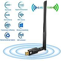 Adattatore Antenna USB WiFi Chiavetta Wifi con Antenna 5dBi Ricevitore WiFi 1200Mbps(300Mbps/2.4G & 867Mbps/5.8G) 11ac Dual Band, Compatibile con Windows 10/8/7 / Vista / XP / 2000, Mac OS