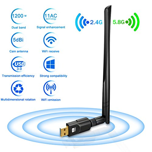 Adattatore Antenna USB WiFi Chiavetta Wifi con Antenna 5dBi Ricevitore WiFi 1200Mbps(300Mbps/2.4G & 867Mbps/5.8G) 11ac Dual Band, Compatibile con Windows 10/8/7 / Vista / XP / 2000, Mac OS