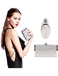Anladia Ladies Diamante Evening Clutch Bag Purse Wedding Prom Party Box Handbag
