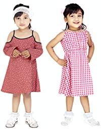 82d0435438acb Olele® Girls Pink and White Check Dress with Edie Dot Brick Red Dresses  Combo