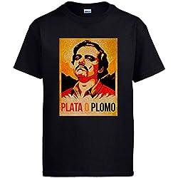 Camiseta Narcos Pablo Escobar Plato o Plomo - Negro, M