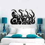guijiumai Riesenkrake Kraken Marine Monster Tentacles Vinyl Wandtattoos Home Decor Art Wandaufkleber schwarz 70x43 cm