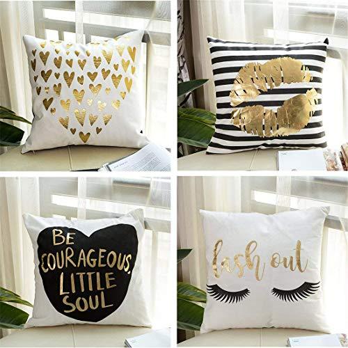 Lindong Dekorativ Kissenbezug 4-er Set Gold Folie Druck Kissen Fall für Sofa Dekokissen Couchkissen 45 * 45cm (45 * 45cm, Gold-2) - Kissen Schlafzimmer-dekorative