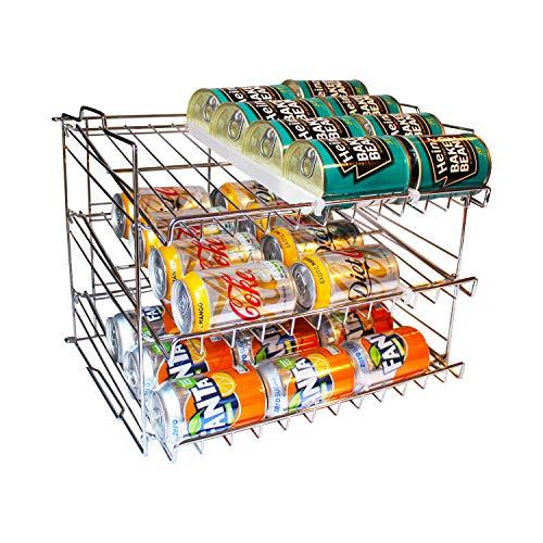 BELLE VOUS Dispensador de Latas de 3 Niveles - Capacidad para 36 Latas - Soporte Apilable para Latas en la Cocina, Despensa o Alacena - para Alimentos y Bebidas en Lata - Portalatas de Metal