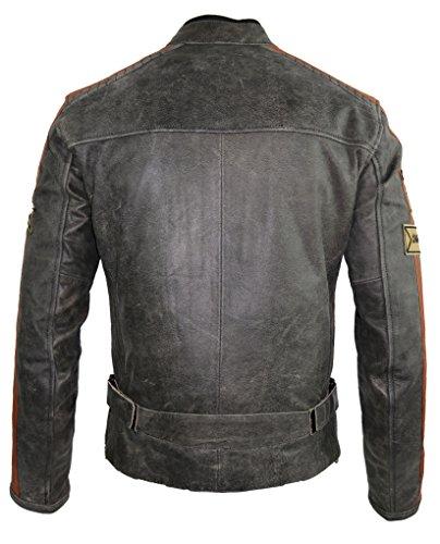 Herren Retro Motorrad Lederjacke (L) - 4