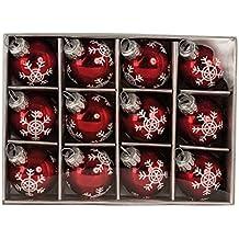 12 Weihnachtskugel Glas Rot glänzend Christbaumschmuck Ø 3 cm Baumschmuck Weihnachten Schneeflocke Anhänger