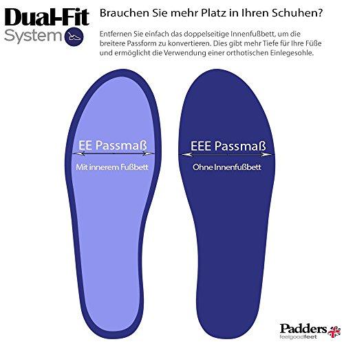 Padders donne sentivano scarpe 'Riva' | con sistema di regolazione a doppia larghezza | Extra Large Larghezza EE-SEE | 15 millimetri tallone | calzascarpe libero blu denim
