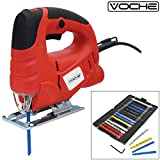 Voche® 400W Electric Heavy Duty Variable Speed Pendulum Cutting Jigsaw - Splinter Guard - Dust Extraction Port + 16 Blades