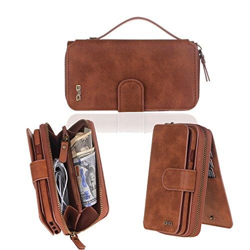 GASIN iPhone 7 Leder Hülle (4.7 Zoll), Multi-function Wallet Case Hülle,herausnehmbare Schutzhülle, Wallet Stand Cover mit Kartenfächer für Apple iPhone 7 (7 Tasche Leder)