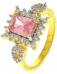 Anuradha Art Golden Finish Styled With Pink Colour American Diamonds Classy Finger Ring For Women/Girls