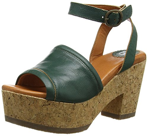 FLY London Hing684Fly, Sandales Plateforme femme Vert - Green (Nilegreen)