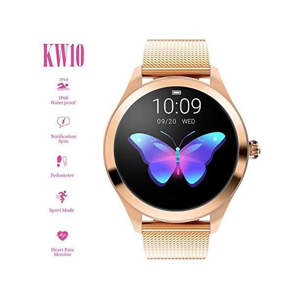 FBLWT Smartwatches Reloj Inteligente para Mujer Kw10 Color Ip68 Señoras Rastreador De Fitness Pantalla Táctil Redonda 8