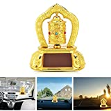 #10: Feng Shui Revolving Rotating Buddhist Temple Solar Bells For Car Dasboard / Home Decorative Temple Idol Showpiece, Spinning Temple Bell Gift Decorative Showpiece - 12 cm (Plastic) Tibetan Buddhist Solar Energy Gilding OM Prayer Wheel Statue for Car Dashboard