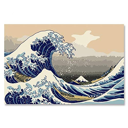 Agolong Float World Draw Ukiyoe Fujisan, Japan Big Fish House DIY Digital Malen nach Zahlen Moderne Wandkunst Leinwand Malerei Einzigartig Ohne Frame 40x50cm -