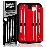 CANDURE Dental Scaler Set - Dental Oral care - Tartar Calculus Plaque Remover - Teeth Whitening Cleaning Kit - Dental floss remover - Dental Inspection Mirror - Tooth Scraper - Dental Instruments