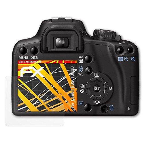 atFoliX Folie für Canon EOS 1000D/Rebel XS Displayschutzfolie - 3 x FX-Antireflex-HD hochauflösende entspiegelnde Schutzfolie (Canon Eos Rebel Xs)