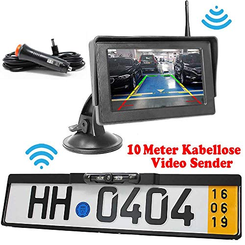 HSRpro Rückfahrkamera mit Kennzeichenhalter inkl. Stand Monitor - Bis zu 5 Jahre Garantie. Drahtloser Kabellose Funk oder Kabel Vinbindung für PKW KFZ Auto Bus & Transporter - Rear View Camera Kamera
