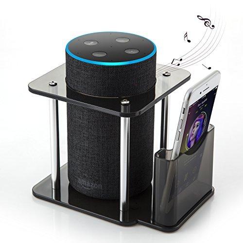 Support d'enceinte pour Amazon Echo Alexa et UE MEGABOOM avec télécommande Support, Acrylique, Noir, (Support en Aluminium, la Meilleure Base Plastique Stabiliser à partir de Kid)