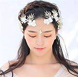 ELEGENCE-Z Bridal Crown Kopfbedeckungen Alloy Handmade White Diamond Perlenkleid Kleid Zubehör (Gold)