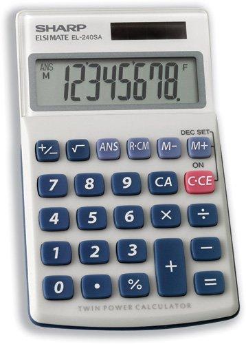 Sharp Taschenrechner Akku solarbetrieben 8Ziffer 3Key Memory 70x 116x 16mm Ref el240sab