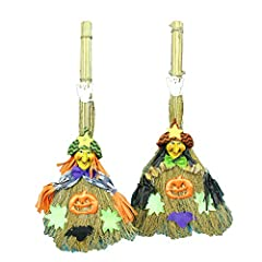 Idea Regalo - Rocita 1pc La Scopa di Strega Decorazioni di Halloween di Paglia Scope Ornamenti per Bar Partito Camera Ornament Ristorante Layout Decor