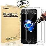 [3 Pièces] Verre Trempé iPhone 8 Plus / 7 Plus, Emmabin Film Protection en Verre trempé écran Protecteur Vitre - Ultra Résistant Dureté 9H Glass Screen Protector pour iPhone 7 Plus / 8 Plus - 5.5