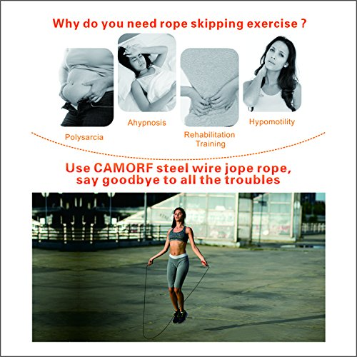 Skipping-Rope-for-Fitness-CAMORF-Adjustable-Steel-Wire-Jump-Rope-Exercise-with-Carry-Bag-Soft-Foam-Handle-Jumping-Rope-for-Women-Men-Kids-Tangle-free-Speed-Rope-for-Weight-lossCardioGymBoxingCrossFit