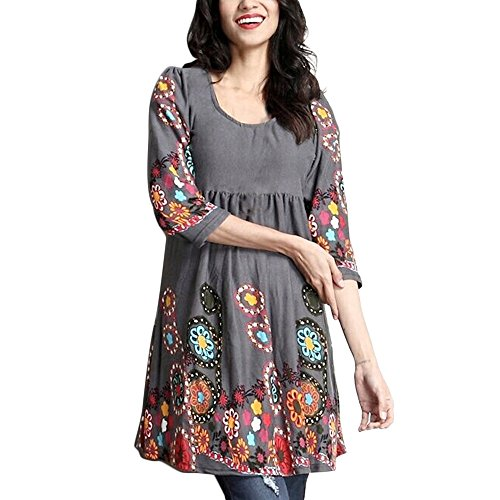BHYDRY Frauen-Damen-Dreiviertelhülse, die beiläufige Oberseiten-T-Shirt lose Spitzenbluse Druckt(EU-34/CN-S,Dunkelgrau)
