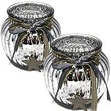 Bada Bing 2er Set Windlicht Silber Aus Glas Holz Stern bauernsilber Bändern Wunderschönes Stimmungslicht 64...