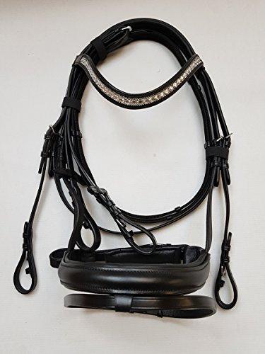 nilo Trense Hanna, Trensenzaum schwarz mit Strass-Stirnband inkl. Zügel, Größe Pony