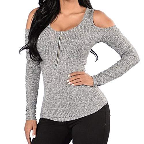 SEWORLD Women Slim O-Neck Off Shoulder Long Sleeve Zipper Tops T-Shirt Gray 49bbb2b90413