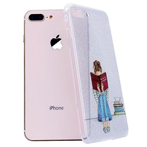 WE LOVE CASE Coque iPhone 8 Plus Souple Gel Coque iPhone 8 Plus Silicone Paillette Glitter Brillant Motif Fine Coque Girly Resistante Coque de Protection Bumper Coque Apple iPhone 8 Plus livre de fille