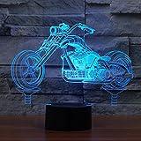 Motorrad 3D Illusion Lampe führte Nacht Licht mit 7 Farben blinken & Touch-schalter USB-Stromversorgung Schlafzimmer Licht Schreibtischlampe Lampen für Kinder Geburtstag Geschenke Haus Dekoration