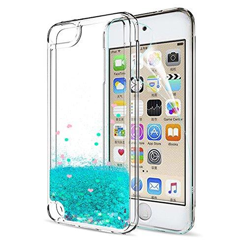 LeYi Hülle iPod Touch 7th / 6th / 5th Glitzer Handyhülle mit HD Folie Schutzfolie,Cover Schutzhülle für Case iPod Touch 5th 6th 7th Handy Hüllen ZX Turquoise - Ipod Touch Handy