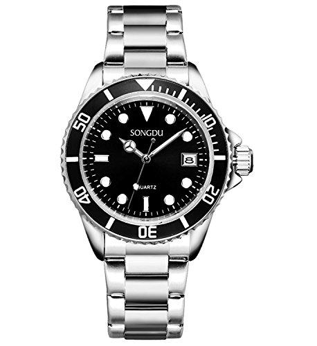 SONGDU-Herren-Armbanduhr-Quarz-Silber-Edelstahlband-AnalogKalender-Datum-Fenster-Schwarzes-Zifferblatt