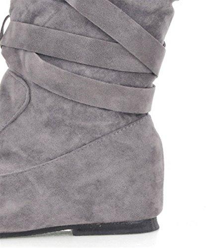 Wealsex Botte Suédine avec Bandage Fourré Hiver Chaude Cuissarde Talon Compensée Intérieur Mode Casual Bout Ronde Botte classique Grande Taille 39 40 4142 43 Femme Gris