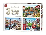 King 3 in 1 City Collection Collection Jigsaw Puzzles - 3 x 1000 Pieces & Posters Included