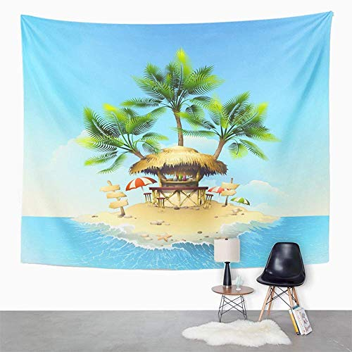 Tapisserie Wandbehang Wandteppich Hippie Yellow Beach Tropical Bungalow Bar on Island in Ocean House Tablecloth Tapestry with Art Nature Home Decorations for Living Room Bedroom Dorm Decor (130x150cm) -