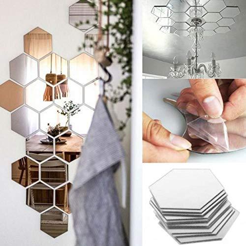 Forepina 12Stück 3D Hexagon Spiegel Aufkleber Wandaufkleber Wohnzimmer Schlafzimmer Wandaufkleber Kunst Aufkleber - Hexagon Spiegel