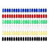 Vancool (120pcs) Multicolour Plastic Key ID Tags with Split Ring Key Ring,6 color