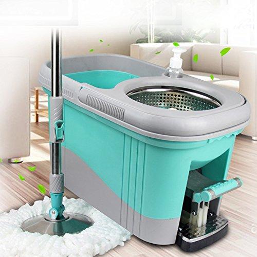 Foto de Juego de trapeador y cubo 360 grados Spinning Cleaning Mop Mango extensible con el pedal Pedal Laborough Fregona para TODOS los pisos