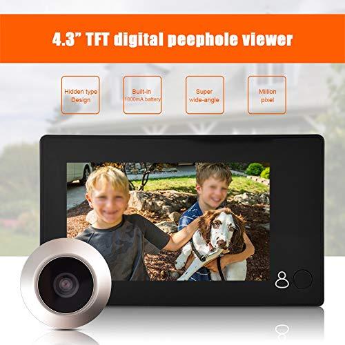 ASHATA Digitaler Türspion, 4,3 Zoll HD TFT LCD Farbdisplay Türspion Kamera,145 Grad Weitwinkel Türklingel Home Security Kamera Türklingel Sicherheitssystem für 35-110mm Türstärken