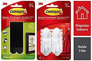 Command Designer Medium Plastic Hook(White, 2 Hooks and 4 Strips) & Command Large Picture Hanging Strip(Black, Pack of 4)